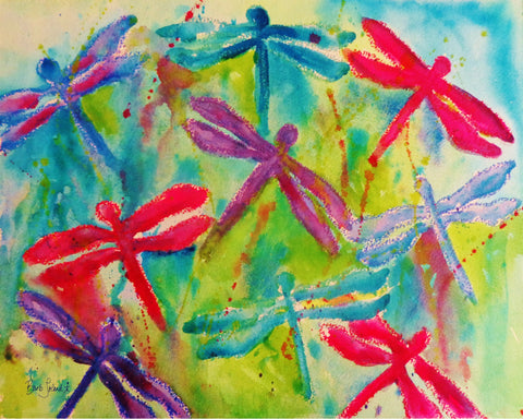 A watercolor painting of dragonflies springing to life.