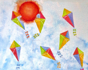 A watercolor painting of a kite flying summer day at the beach.