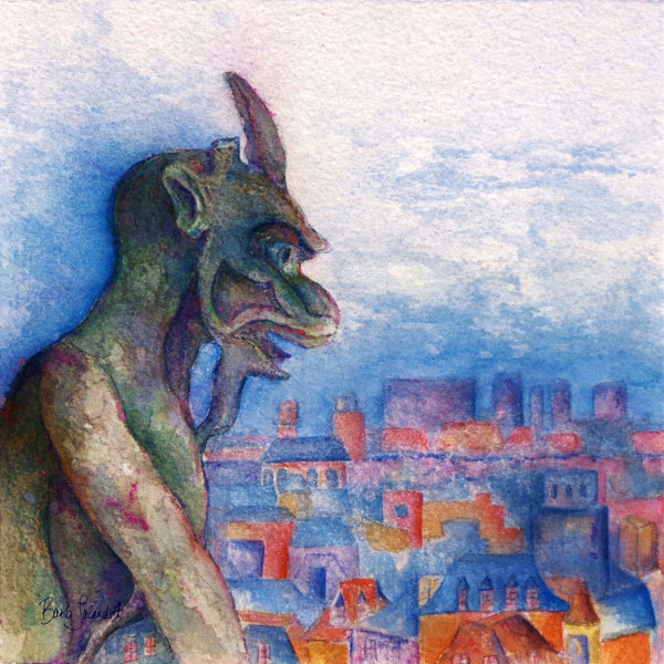 A watercolor painting of a gargoyle perched above Paris watching for just the right moment to act on a dream.
