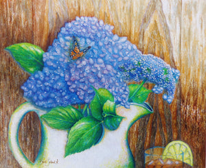 A watercolor painting of grandma's hydrangeas &  delicious sweet tea.