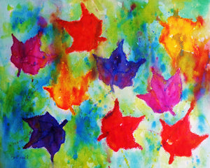 A watercolor & oil pastel painting of leaves falling from the trees on a crisp autumn day.
