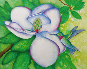A watercolor & oil pastel painting of a southern magnolia blossom and a ruby-throated hummingbird.