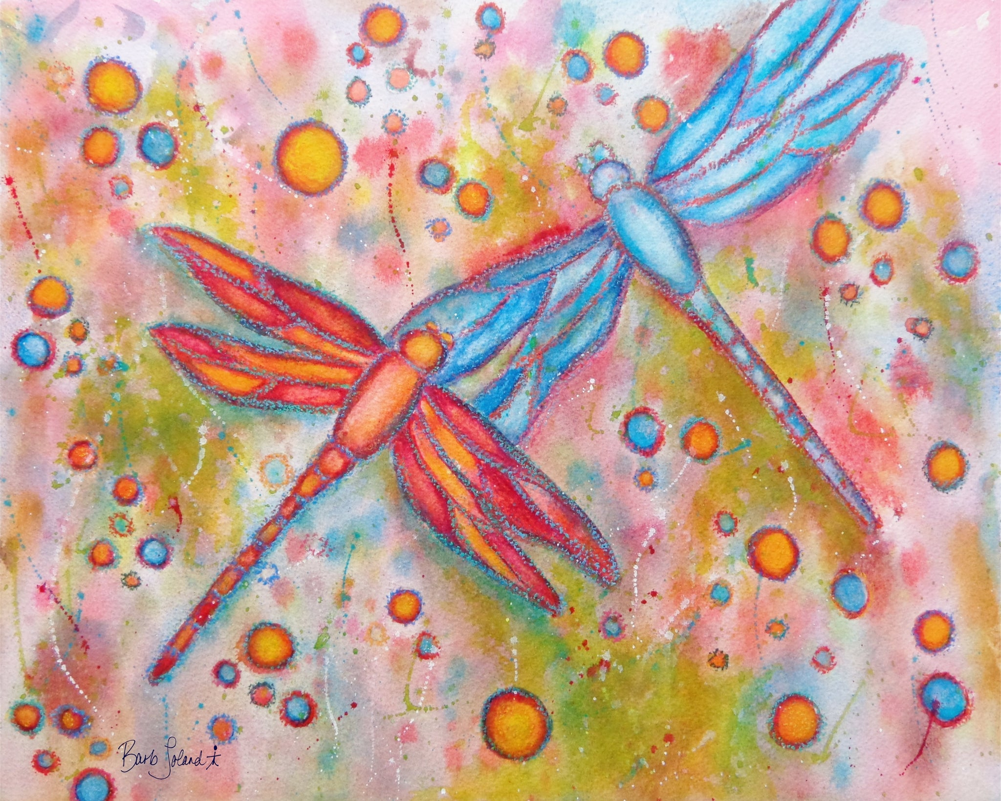 A watercolor & oil pastel painting of 2 dragonflies dancing in the breeze of a summer's day.