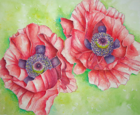 A watercolor painting of a pair of pink poppies to remind you of a summer's day!
