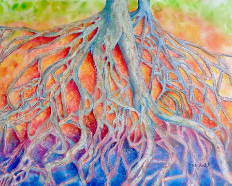 A watercolor & oil pastel painting of two trees' roots clinging to an embankment at Falls Park in Greenville SC.
