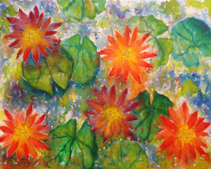 A watercolor & oil pastel painting of water lilies floating in a pond, an homage to the work of Claude Monet.