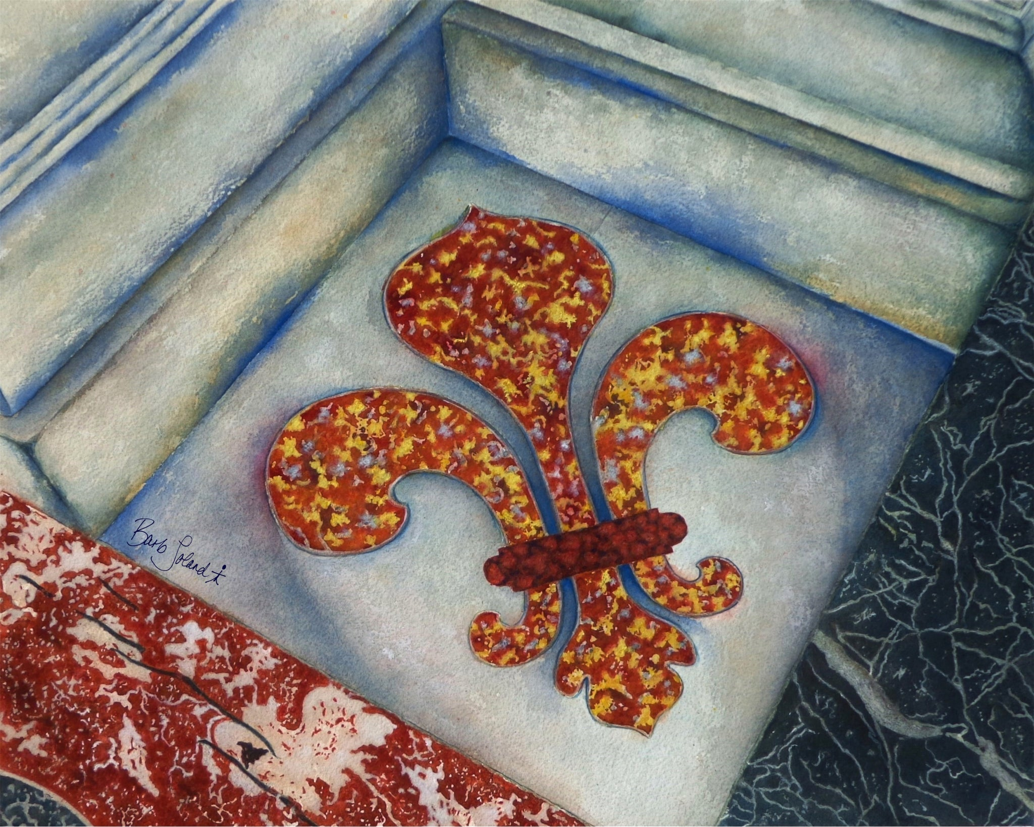 A watercolor painting of a fleur-de-lis embedded in a marble floor in Paris, France.