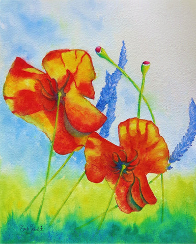 A watercolor painting of bright orange poppies & fragrant lavender floating on the breeze of a summer's day!