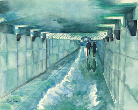 A watercolor painting of two lovers strolling hand-in-hand thru a tunnel linking the Champs-Elyseés & the Arche de Triomphe in Paris.