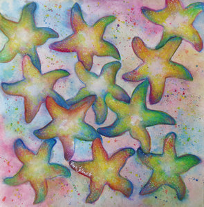 A watercolor painting of starfish dancing across the beach on a summer's day.