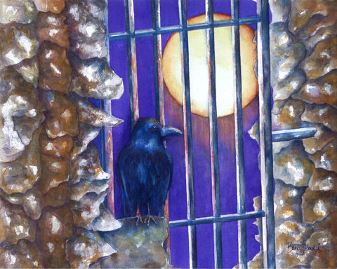 A watercolor painting of Hugine, a raven who lives at the Tower of London.