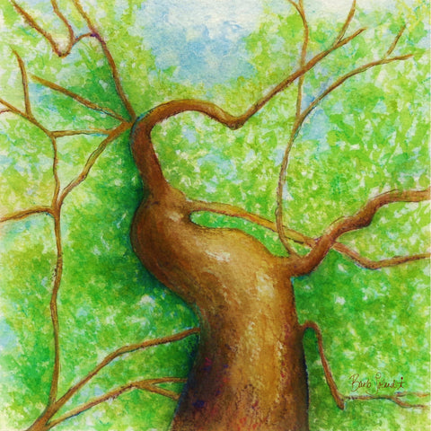 A watercolor painting of a tree's outstretched limbs reminding us to reach as high, and as far as we possibly can when pursuing our dreams & goals.