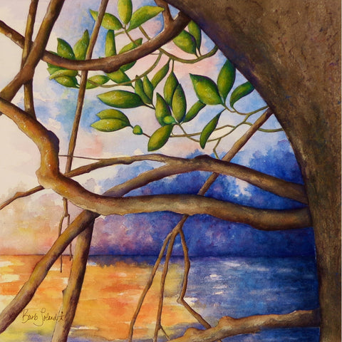 A watercolor painting of a kayak view at sunset while emerging from the mangroves on the Gulf of Mexico.