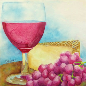 A watercolor painting of red wine, grapes & manchego cheese to toast the day's end!