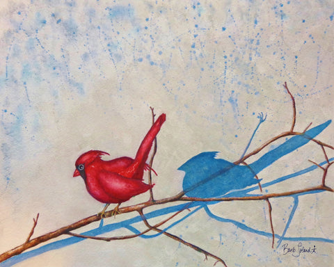A watercolor painting of a bird, a branch & the shadows they cast on a winter's day.