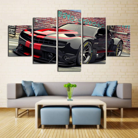 5 Piece Canvas Art Black Camaro with Red Racing Stripes