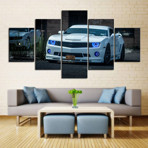 5 Piece Canvas Art White Camaro with Halos
