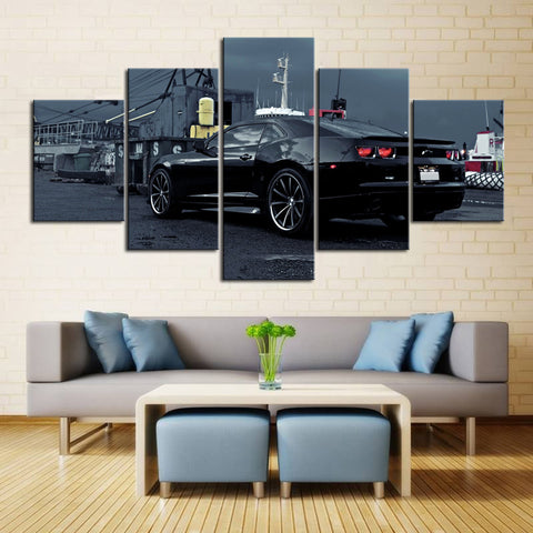 5 Piece Canvas Art Black Camaro SS