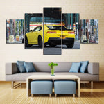 5 Piece Canvas Art Yellow Camaro in City