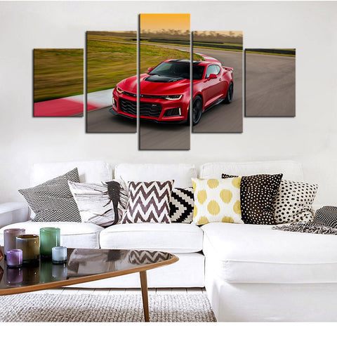 5 Piece Canvas Art Red ZL1
