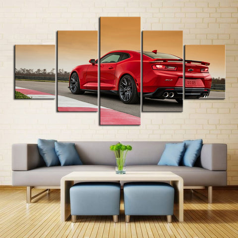 5 Piece Canvas Art Red ZL1 Drivers Back
