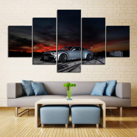 5 Piece Canvas Art Silver Camaro at Night