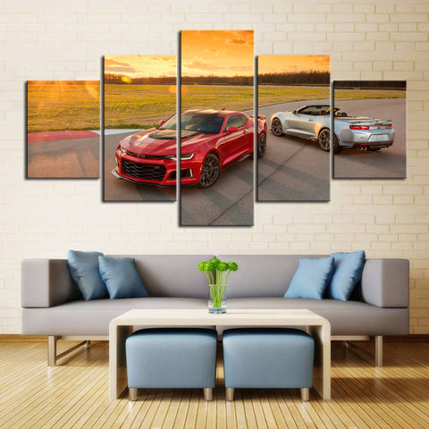 5 Piece Canvas Art Red and Silver Camaros
