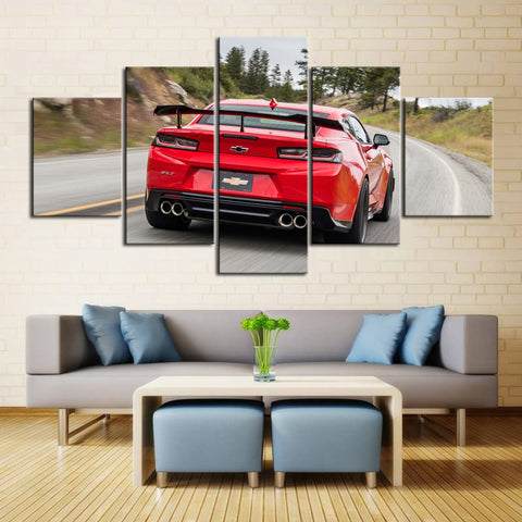 5 Piece Canvas Art Red Camaro with Black Spoiler