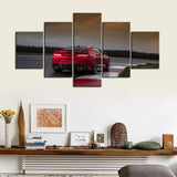 5 Piece Canvas Art Red Camaro Passenger Rear