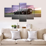 5 Piece Canvas Art Black C6 Corvette