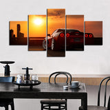 5 Piece Canvas Art Corvette Sunrise