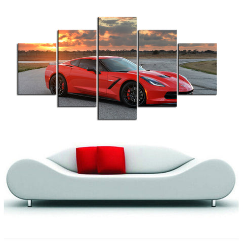 5 Piece Canvas Art Red Corvette