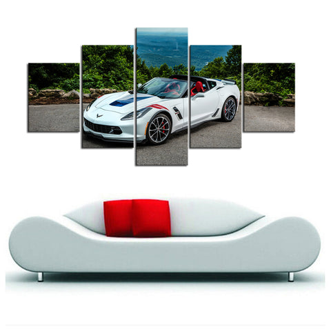 5 Piece Canvas Art White Corvette Scenic Front
