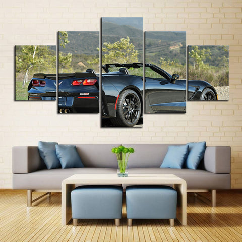 5 Piece Canvas Art Black Corvette Convertible