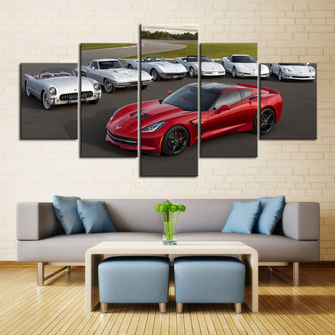 5 Piece Canvas Art Corvette Generations