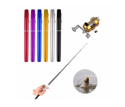 Mini Fishing Pole Pen with Reel Wheel