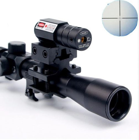 Tactical Crossbow Riflescope With Red Dot Laser Sight and 11mm Rail Mounts for 22 Caliber Guns