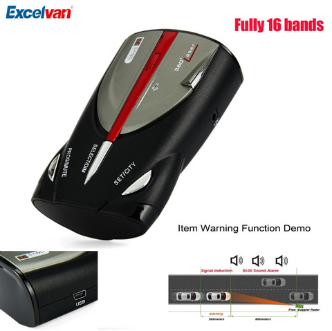Police Radar Detector 16 Band 360-Degree with Laser Detection and Voice Alert