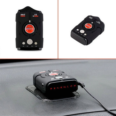V8 16 Band 360 Degree Radar Detector with Laser Detection and Voice Alert