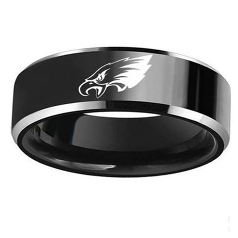 NFL Philadelphia Eagles Black Titanium Ring