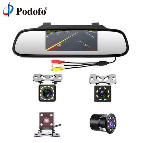 "4.3"" Car Rearview Mirror Monitor Auto Parking System + LED Night Vision Backup Reverse Camera"