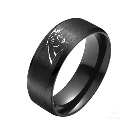 NFL North Carolina Panthers Black Titanium Ring
