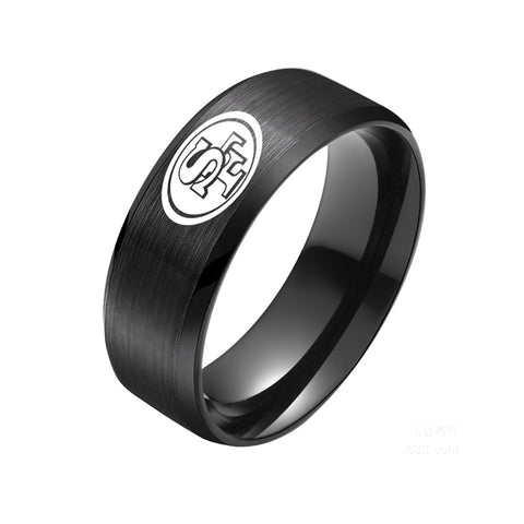NFL San Francisco 49ers Black Titanium Ring