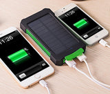 NEW Waterproof Solar Power Bank 10000mAh Dual USB Battery Charger with Compass