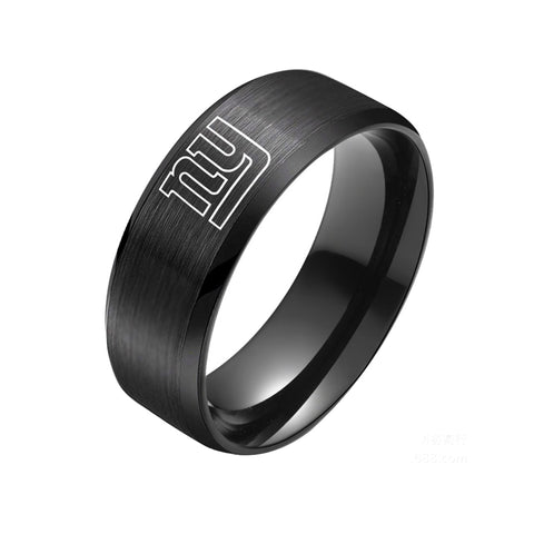 NFL New York Giants Black Titanium Ring