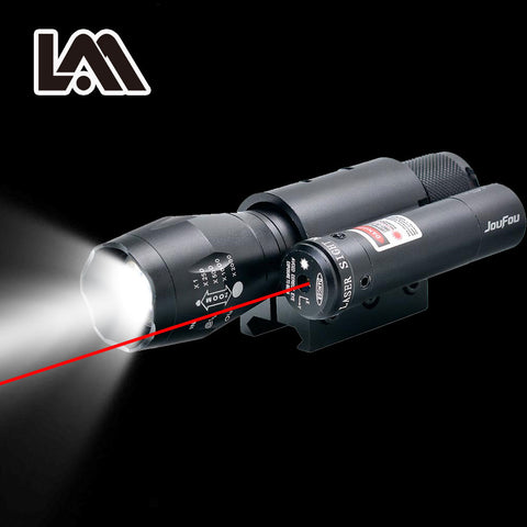 Powerful Zoomable Red Laser Sight Scope with High Power LED Flashlight for Firearms