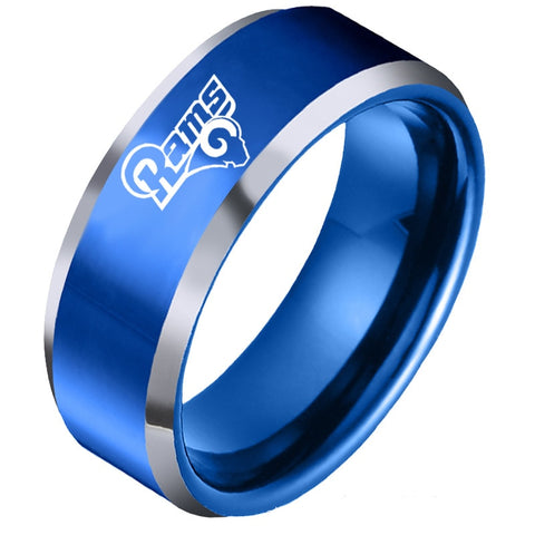 NFL Los Angeles Rams Blue Titanium Ring