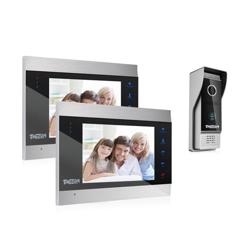 "Wired Video Intercom System with 2 Night Vision 7"" Monitors + 1 Rainproof Doorbell Camera"