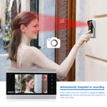 "Wired Video Intercom System with 1 Night Vision 7"" Monitor + 2 Rainproof Doorbell Cameras"