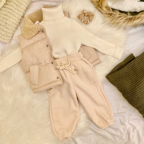 kids joggers, little girl joggers beige